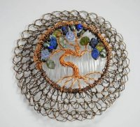 Etz Chaim, Tree of Life Green and Blue Wire Kippah