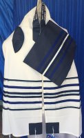 Navy Stripes and Silver Wool Tallit Set