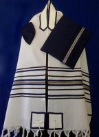 Multi Striped Navy and Gold Wool Tallit Set