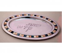 Stone Inlay and Aluminum Challah Plate