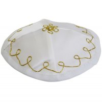 White Satin with Gold Trim, Baby Kippah