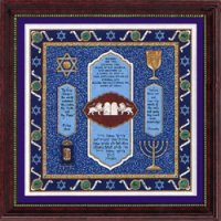 Bar Mitzvah Blessing-Twelve Tribes Framed Art, by Mickie Caspi