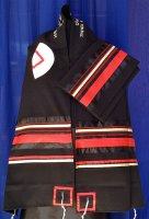 Black with Red Tallit Set