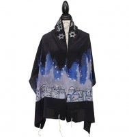 Silk Bijoux Israel Silk Tallit Set, Black & Gray