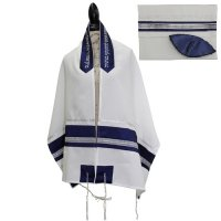 Blue Tallit Set with Silver Ribbons