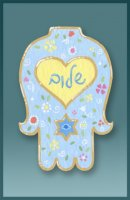 Light Blue Hamsa Car Mezuzah by Mickie Caspi