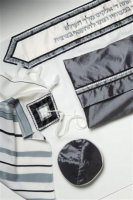Classic Grey and Silver Full Size Tallit Set
