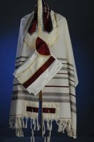 Classic Grey and Burgandy Full Size Tallit Set