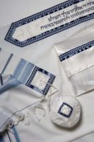 Classic Blue and Silver Full Size Tallit Set