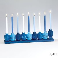Blue Dreidel Menorah