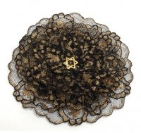 Ladies Black and Gold Lace Kippah