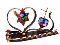 Wedding Heart Dreidle Menorah Combo, by Gary Rosenthal