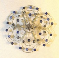Lapis and Silver Light Beaded Wire Kippah