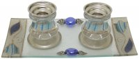 Ocean Blue Tulip Candlesticks-Small, by Lily Art