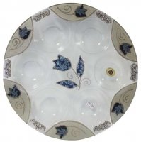 Blue Tulip Glass Seder Plate, by Lily Art