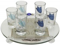 Blue Tulips Kiddush Set, by Lily Art