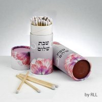 Long Shabbat Matches in Upright Box - Pink Floral