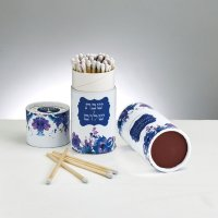 Long Shabbat Matches in Upright Box - Purple Floral