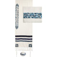 Star of David in Blues Tallit Set, by Yair Emanuel
