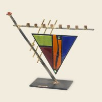 Art Deco Triangular Menorah, by Gary Rosenthal