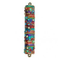 Bright Multi-Colored Mezuzah, by Michal Golan