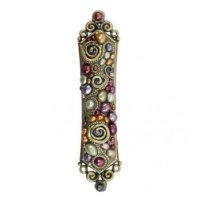 Clusters of Pearls and Swirls Decor Mezuzah, by Michal Golan