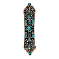 Black and Turquoise Mezuzah, by Michal Golan