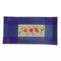 Ceramic Challah Plate, Navy Blue with Red Pomegranates Small