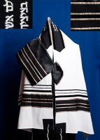 Black and Champagne Stripes Wool Tallit Set