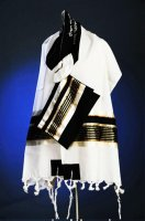 Black and Champagne Wool Tallit Set