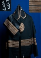 Black and Copper Wool Tallit Set