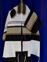 Black and Gold Raw Silk on Wool Tallit Set