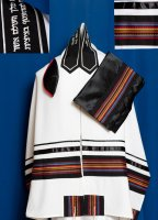 Black and Multi Colored Stripes with Black Wool Tallit Set