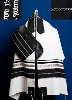 Black and Silver Wool Tallit Set