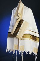 Bronze and Gold Wool Tallit Set