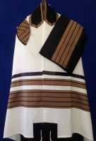 Copper and Black Wool Tallit Set
