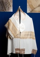 Cream and Gold on Brushed Cotton Tallit Set