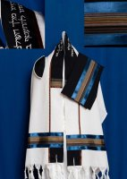 Navy and Multi Color Stripes Wool Tallit Set