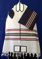 Navy and Red Wool Tallit Set