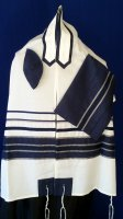 Navy and Silver Ribbon Wool Tallit Set