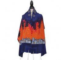 Silk Bijoux Israel Silk Tallit Set, Blue & Orange