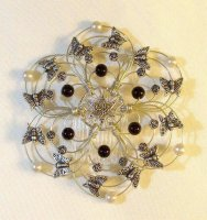Onyx and Silver Light Beaded Wire Kippah