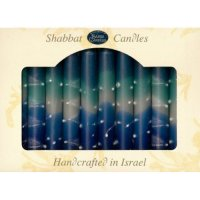 Safed Shabbat Candles, Blue Water