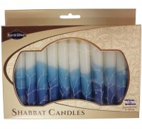 Safed Shabbat Candles, Graduated Blues with White