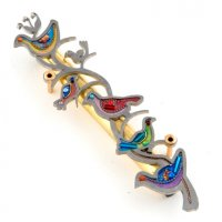 Colorful Doves Mezuzah, by Seeka
