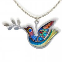 Dove of Peace Necklace- Blue, by Seeka