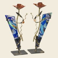 Shabbat Candlesticks with Triangular Glass, by Gary Rosenthal