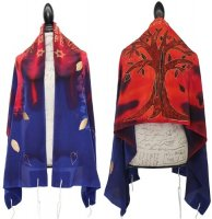 Silk Bijoux Tree of Life Tallit Set, Blue & Red