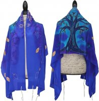 Silk Bijoux Tree of Life Tallit Set, Blues