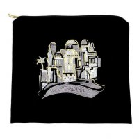 Tallit Bag Black Ultra Suede, Multi Silver Jerusalem